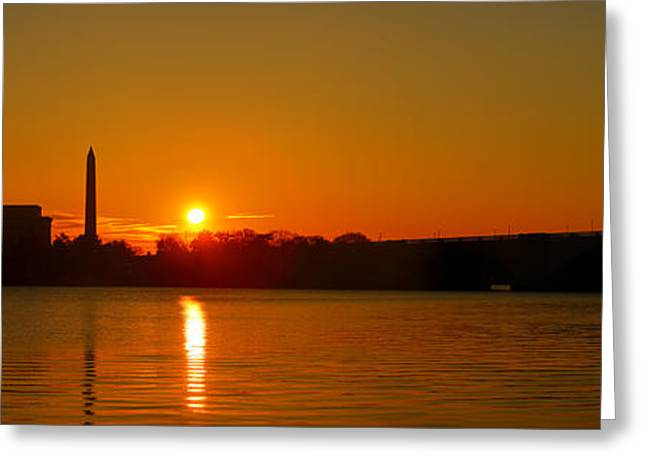 Flag Photographs Greeting Cards - Orange Sunrise Over DC Greeting Card by Metro DC Photography
