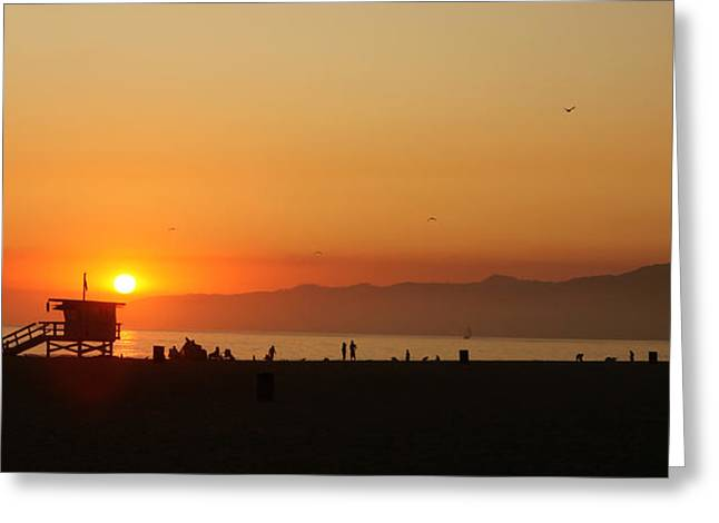 Overcast Day Pyrography Greeting Cards - Orange Sunset Along the Sea in Venice Beach California Greeting Card by Katrina Brown