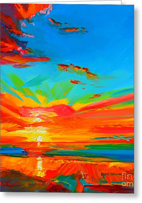 Buy Posters Online Greeting Cards - Orange Sunset Landscape Greeting Card by Patricia Awapara
