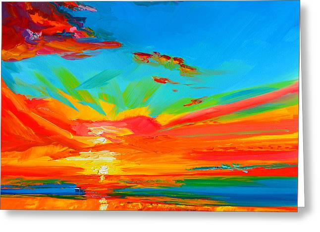 Orange Sunset Landscape Greeting Card by Patricia Awapara