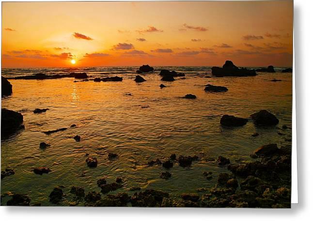 Orange Sunset Greeting Card by Meir Ezrachi