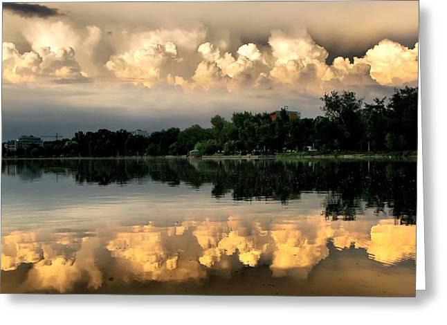 Orange Sunset Reflection Greeting Card by Daliana Pacuraru