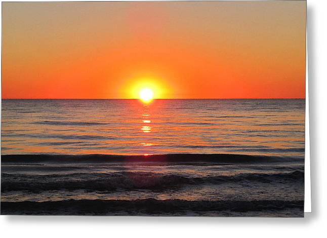 Wall Framed Prints Digital Greeting Cards - Orange Sunset  Greeting Card by Sharon Cummings