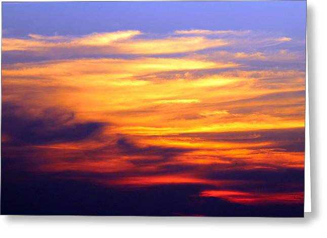 Nature Abstract Greeting Cards - Orange Sunset Sky Greeting Card by Cynthia Guinn