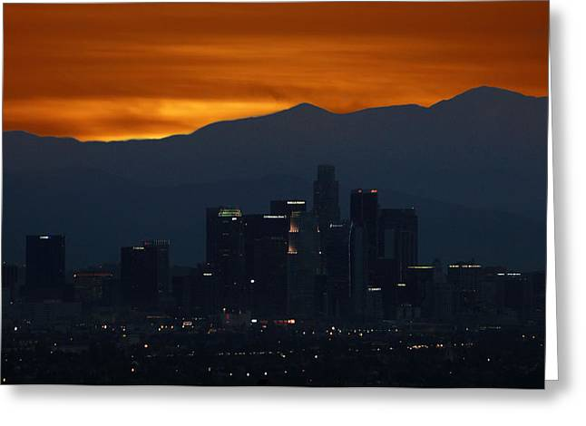 Staples Center Greeting Cards - Orange Sunshine Rousing L A Greeting Card by Lorenzo Williams