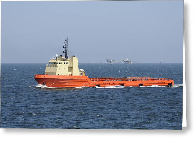 Sea Platform Greeting Cards - Orange Supply vessel underway Greeting Card by Bradford Martin