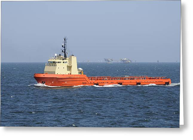 Recently Sold -  - Sea Platform Greeting Cards - Orange Supply vessel underway Greeting Card by Bradford Martin