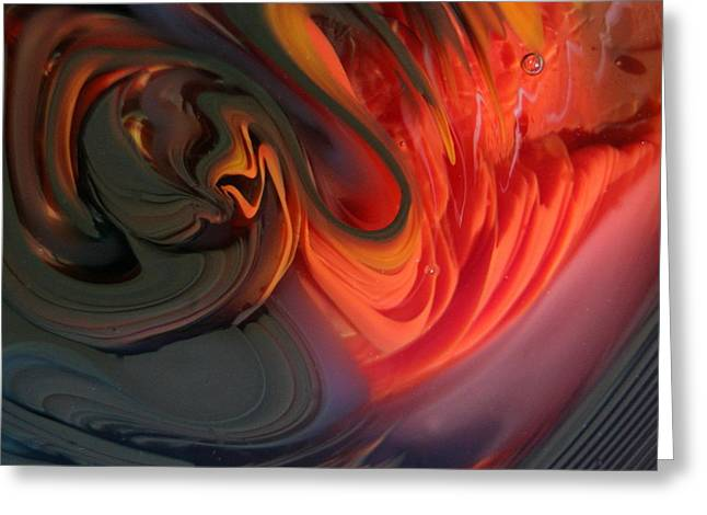 Photograph Glass Art Greeting Cards - Orange Swirls Greeting Card by Kimberly Lyon