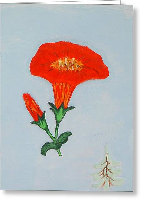 Vines Reliefs Greeting Cards - Orange Trumpet vine Greeting Card by Alberto H-B