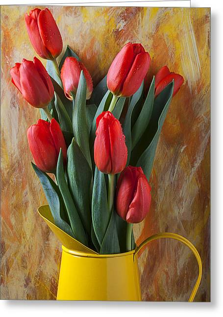 Pitcher Greeting Cards - Orange tulips in yellow pitcher Greeting Card by Garry Gay