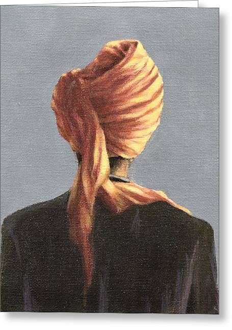 Back View Greeting Cards - Orange Turban, 2004 Acrylic On Canvas Greeting Card by Lincoln Seligman