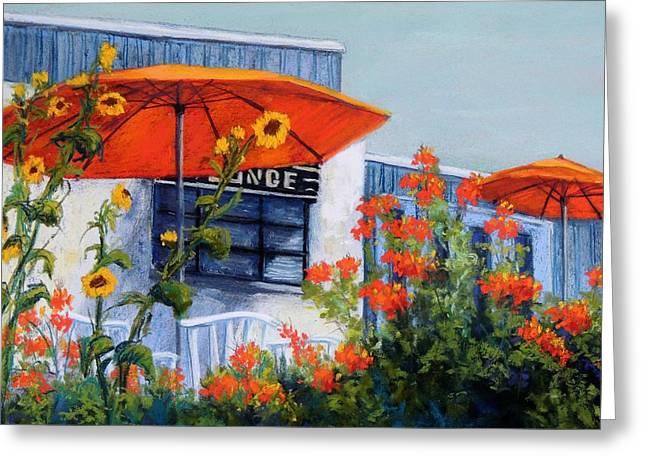 Umbrellas Pastels Greeting Cards - Orange Umbrellas Greeting Card by Candy Mayer