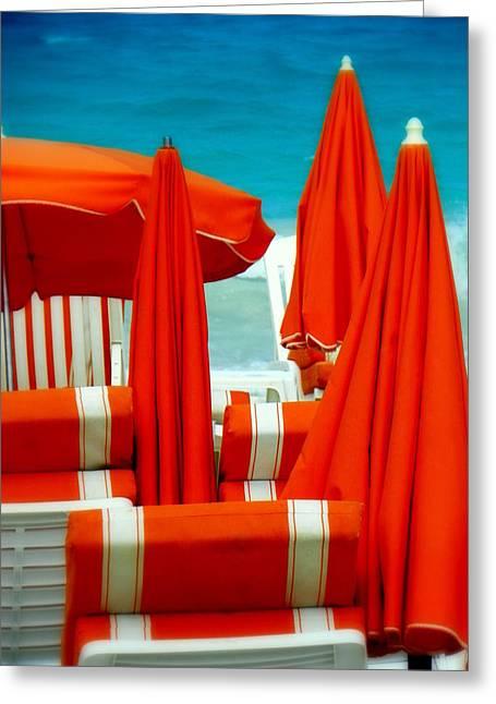 Umbrellas Greeting Cards - Orange Umbrellas Greeting Card by Karen Wiles