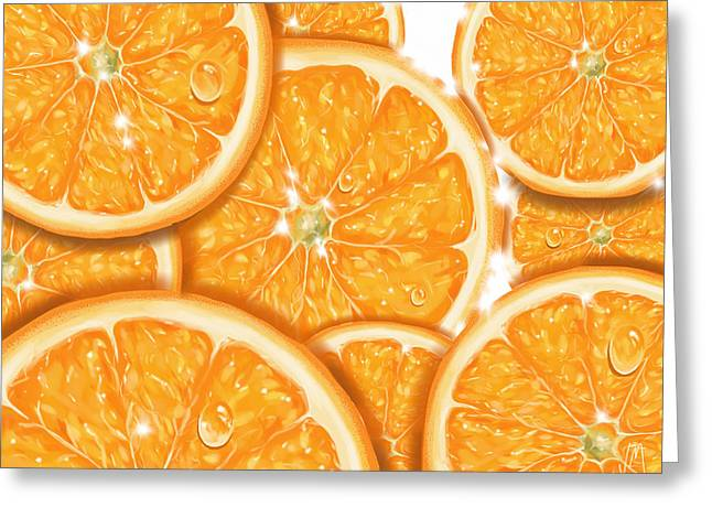 Digital Paintings Greeting Cards - Orange Greeting Card by Veronica Minozzi