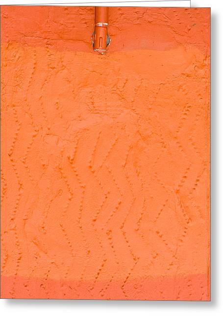 Groove Greeting Cards - Orange wall Greeting Card by Tom Gowanlock