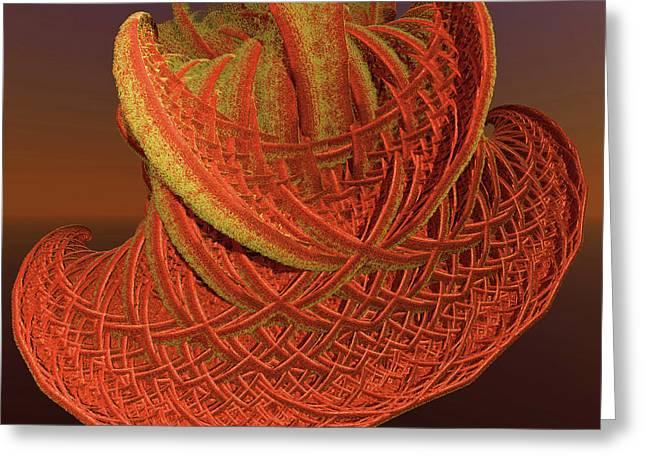 Incendia Greeting Cards - Orange Weave Greeting Card by Deborah Benoit
