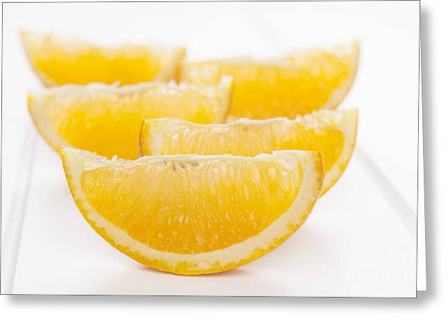 Orange Wedges on White Background Greeting Card by Colin and Linda McKie