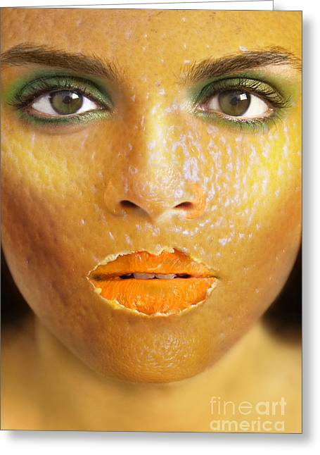 """""""photo Manipulation"""" Photographs Greeting Cards - Orange Woman Greeting Card by Diane Diederich"""