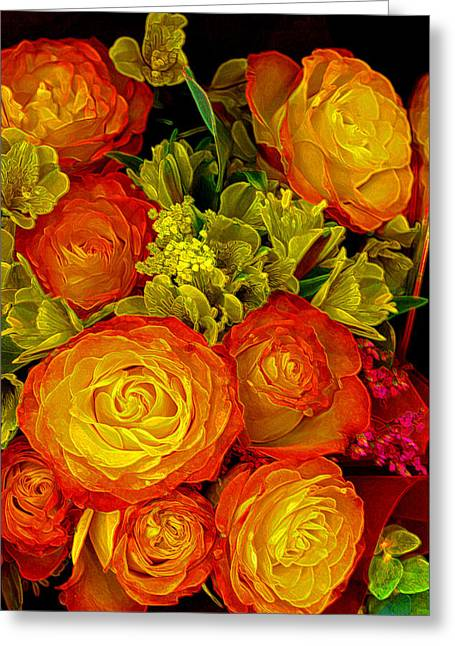 Gold Lime Green Photographs Greeting Cards - Orange Yellow Rose Pouquet Greeting Card by Linda Phelps