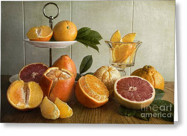 Tabletop Greeting Cards - Orangeade Greeting Card by Elena Nosyreva