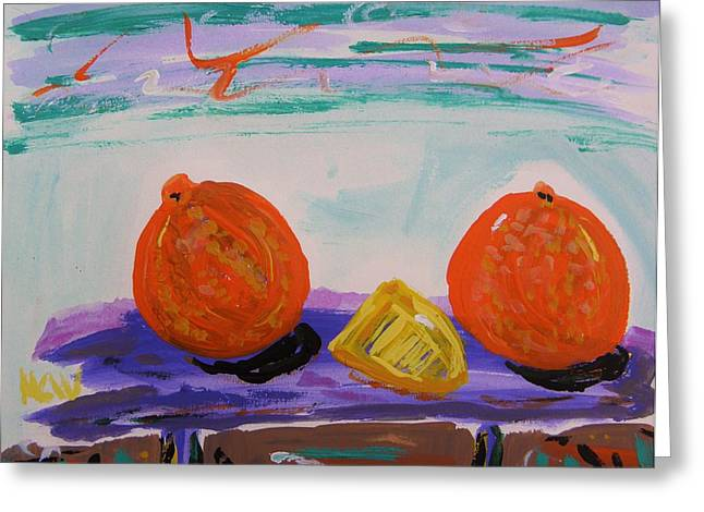 Cheeses Drawings Greeting Cards - Oranges and Cheese Greeting Card by Mary Carol Williams