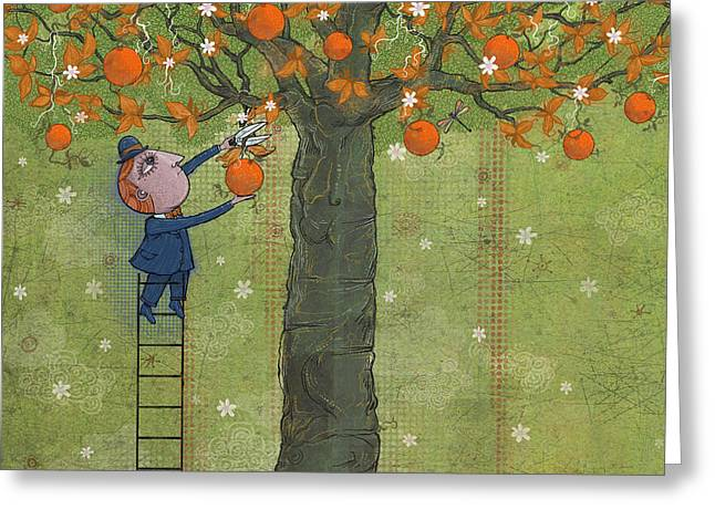 Dennis Wunsch Greeting Cards - Oranges And Dragonfly Three Greeting Card by Dennis Wunsch