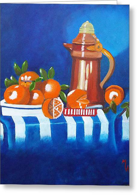 Cloth Greeting Cards - Oranges Are Good For You Greeting Card by Margaret Harmon