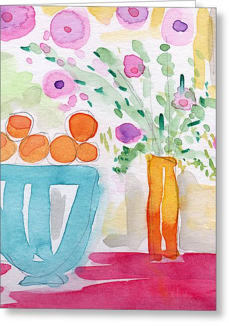Purple Mixed Media Greeting Cards - Oranges in Blue Bowl- watercolor painting Greeting Card by Linda Woods
