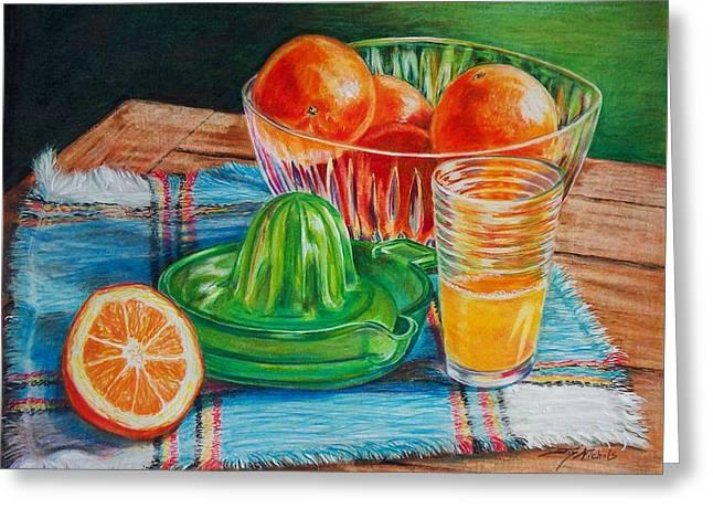 Fresh Produce Drawings Greeting Cards - Oranges Greeting Card by Joy Nichols