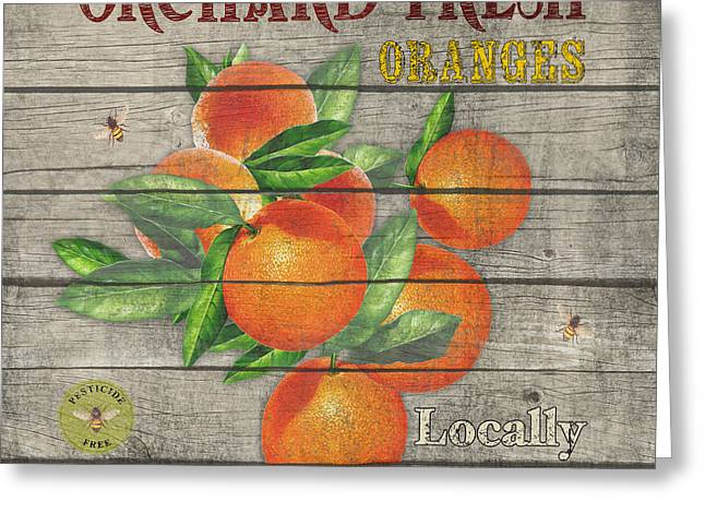 Locally Grown Paintings Greeting Cards - Oranges-JP2677 Greeting Card by Jean Plout