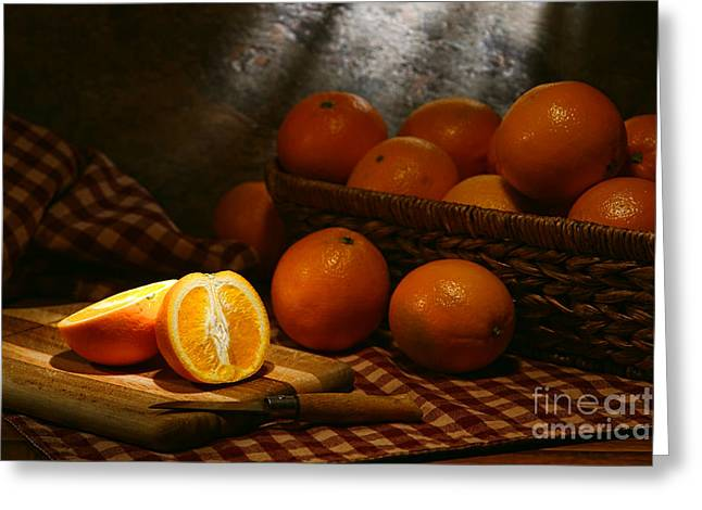 Wicker Baskets Greeting Cards - Oranges Greeting Card by Olivier Le Queinec