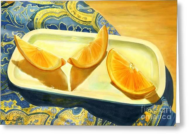 Joan A Hamilton Greeting Cards - Oranges on Blue Paisley Greeting Card by Joan A Hamilton