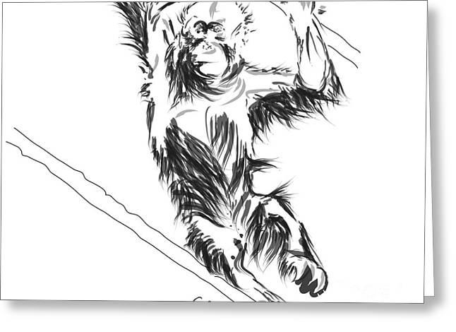 Orangutan 3 Greeting Card by Go Van Kampen
