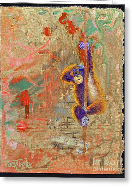Drippy Paintings Greeting Cards - Orangutan Abstract Greeting Card by Tracy L Teeter