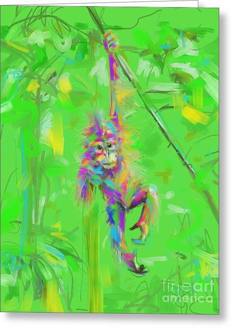 Orangutan Baby In Color Greeting Card by Go Van Kampen