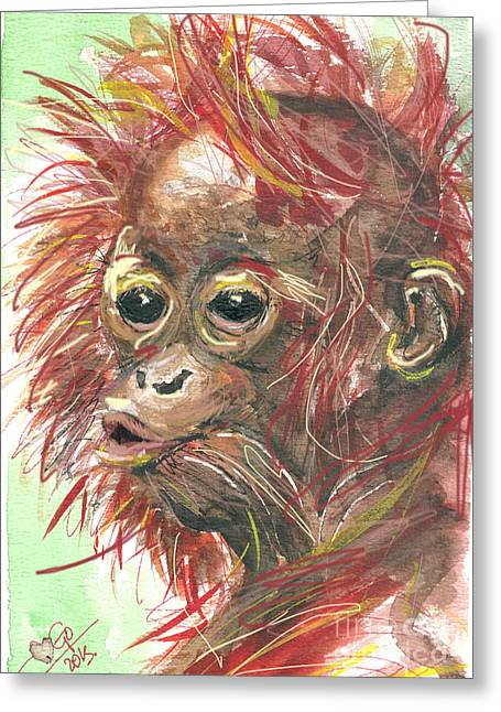 Orangutans Greeting Cards - orangutan Sammy Greeting Card by Go Van Kampen