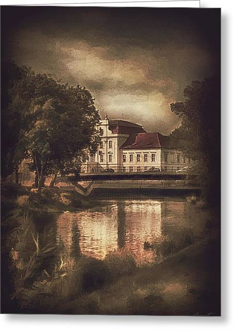 Town Mixed Media Greeting Cards - Oranienburg Palace Greeting Card by Gynt