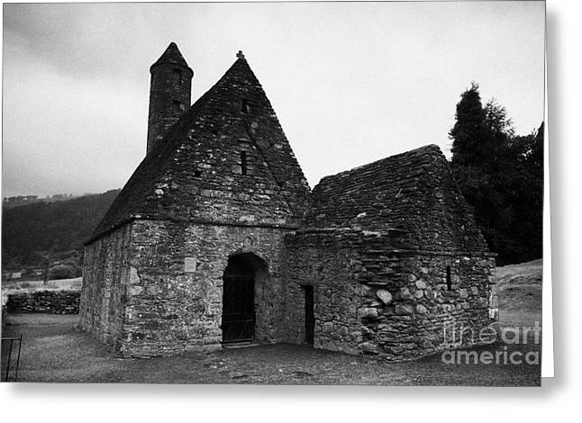 Oratory Known As St Kevins Kitchen Glendalough Monastery County Wicklow Republic Of Ireland Greeting Card by Joe Fox