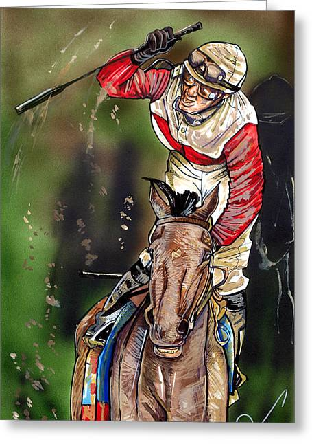 Race Horse Drawings Greeting Cards - Orb Greeting Card by Dave Olsen
