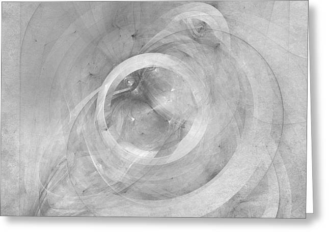 Fractal Galaxies Greeting Cards - Orbit monochrome Greeting Card by Scott Norris