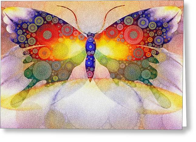 Vivid Colour Mixed Media Greeting Cards - Orbital Butterfly Greeting Card by T T