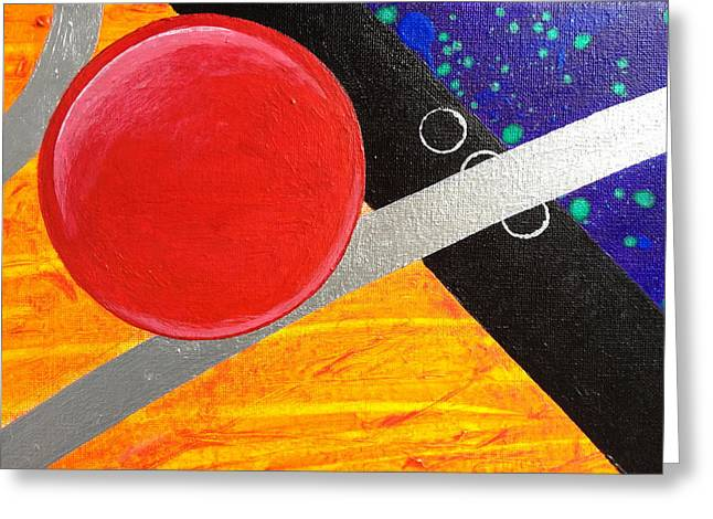 Curve Ball Paintings Greeting Cards - Orbital Chaos  Greeting Card by Mary Inouye