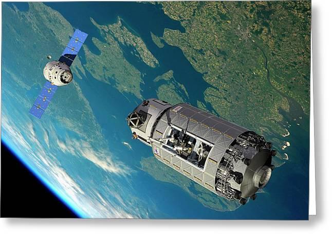 Orbital Maintenance Docking Greeting Card by Walter Myers