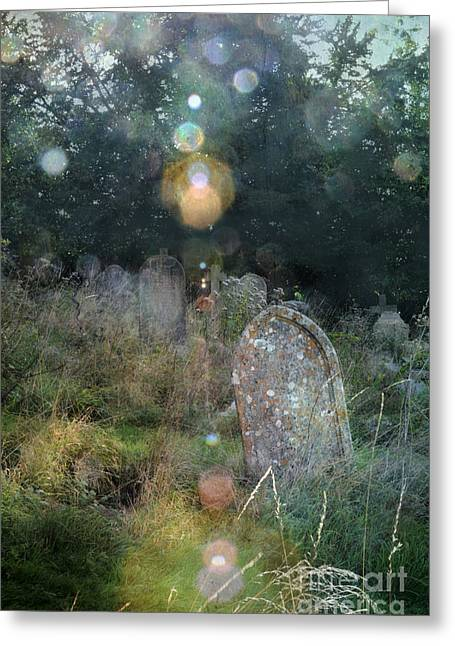 Grave Markers Greeting Cards - Orbs in Overgrown Cemetery Greeting Card by Jill Battaglia