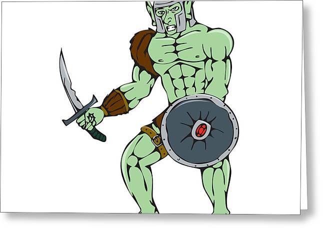 Sword Cartoon Greeting Cards - Orc Warrior Sword Shield Cartoon Greeting Card by Aloysius Patrimonio