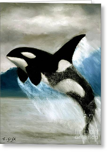 Whale Pastels Greeting Cards - Orca #2 Greeting Card by Rebekah Sisk