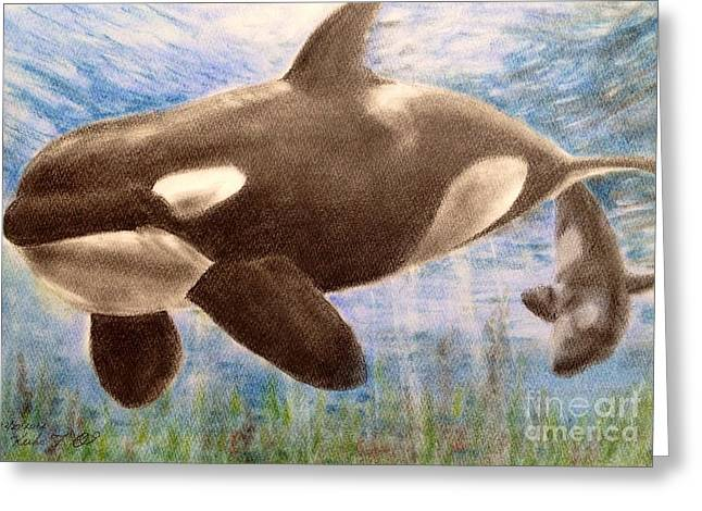 Weed Pastels Greeting Cards - Orca Greeting Card by Keiko Olds