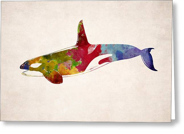 Ocean Mammals Greeting Cards - Orca - Killer Whale Drawing Greeting Card by World Art Prints And Designs