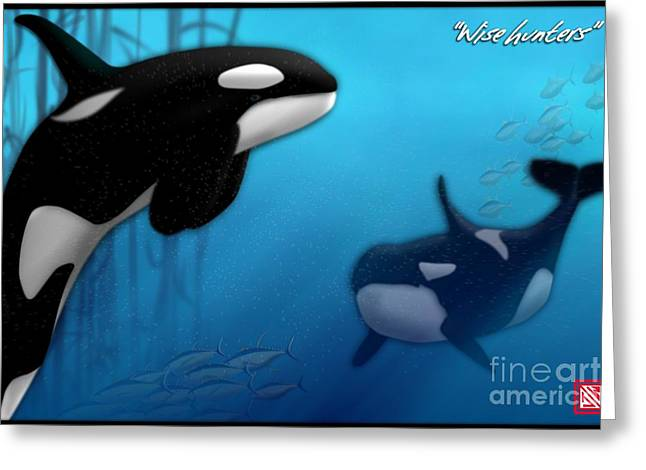 Underwater Scenes Greeting Cards - Orca Killer Whales Greeting Card by John Wills