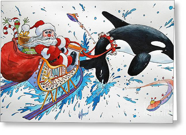 Wales Greeting Cards Greeting Cards - Orca Santa Greeting Card by James Williamson